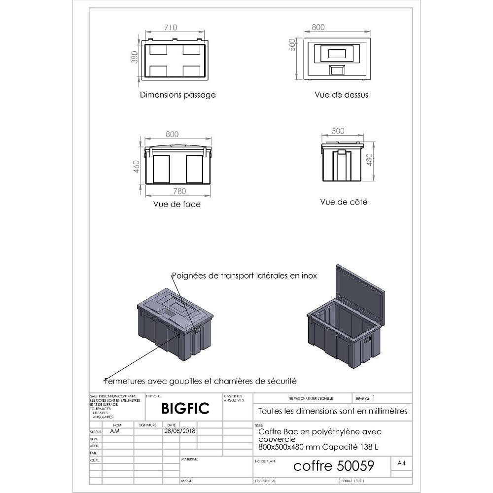 coffre en poly thyl ne avec couvercle 800 x 500 x 480 mm capacit 138 l. Black Bedroom Furniture Sets. Home Design Ideas